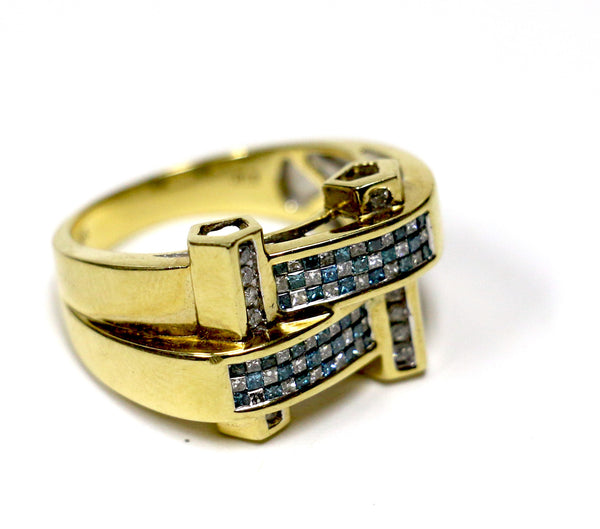 0.80 CT. Woven Blue & White Diamond Ring in 14K Yellow Gold