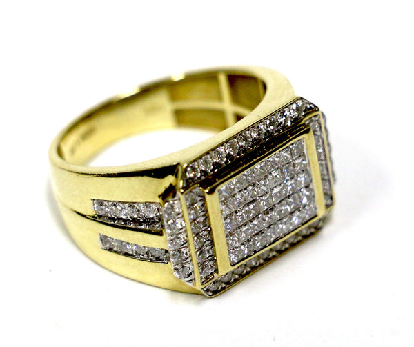 1.72 CT. Embellished Rectangle Diamond Ring in 10K Yellow Gold