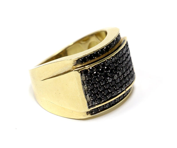 1.50 CT. Black Diamond Ring in 10K Yellow Gold