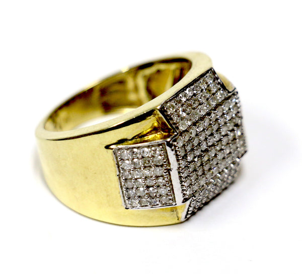 1.10 CT. Angled Rectangles Diamond Ring in 10K Yellow Gold