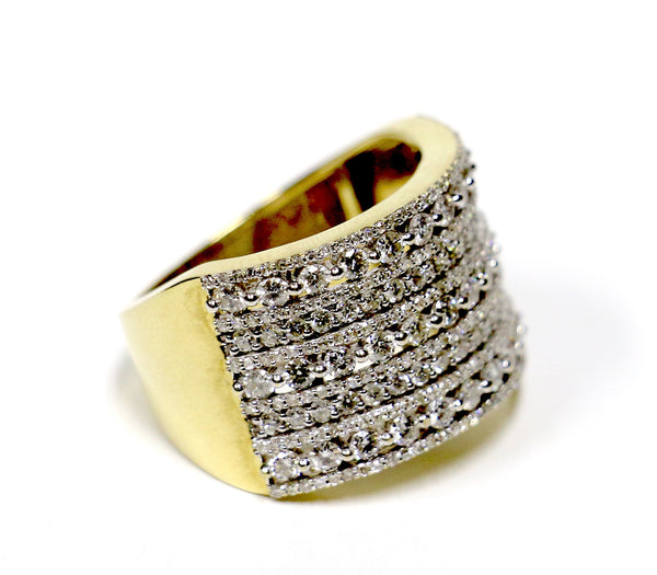 2.38 CT. Three Row Stack Diamond Ring in 10K Yellow Gold