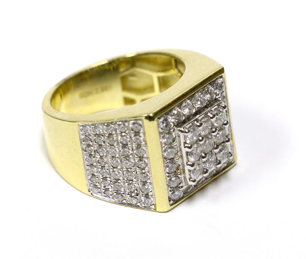 2.96 CT. 3x3 Square Diamond Ring in 10K Yellow Gold