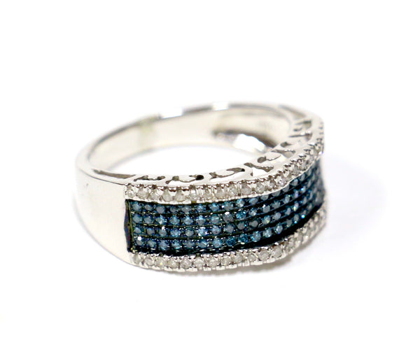 0.50 CT. Blue & White Pavé Diamond Wedding Band in 10K White Gold