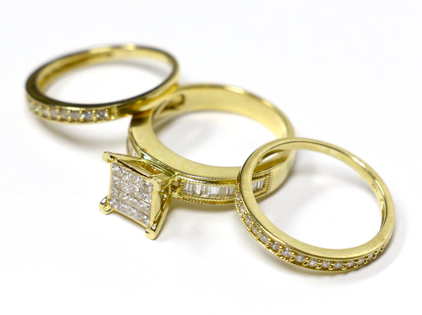 1.28 CT. Diamond Engagement 3 Ring Set in 14K Yellow Gold