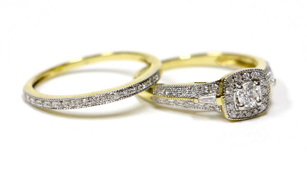 0.68 CT. Diamond Engagement 2 Ring Set in 14K Yellow Gold