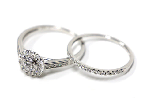 0.33 CT. Diamond Engagement 2 Ring Set in 14K White Gold