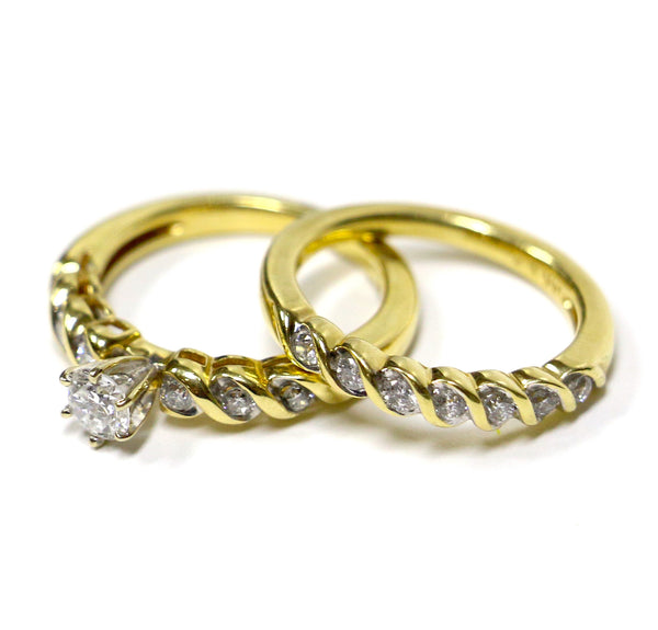 0.92 CT. Diamond Engagement Two-Ring Set in 14K Yellow Gold