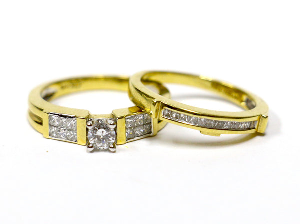 0.75 CT. Diamond Engagement 2 Ring Set in 14K Yellow Gold