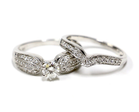 1.00 CT. Diamond Engagement 2 Ring Set in 14K White Gold