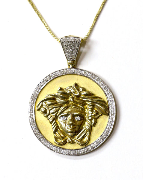 0.45 CT. Medusa Diamond Pendant in 10K Yellow Gold