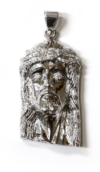 1.50 CT. Diamond Jesus Pendant in 10K White Gold