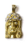 1.00 CT. Diamond Jesus Pendant in 10K Yellow Gold