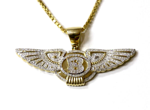 1.00 CT. Bentley Logo Diamond Pendant in 10K Yellow Gold
