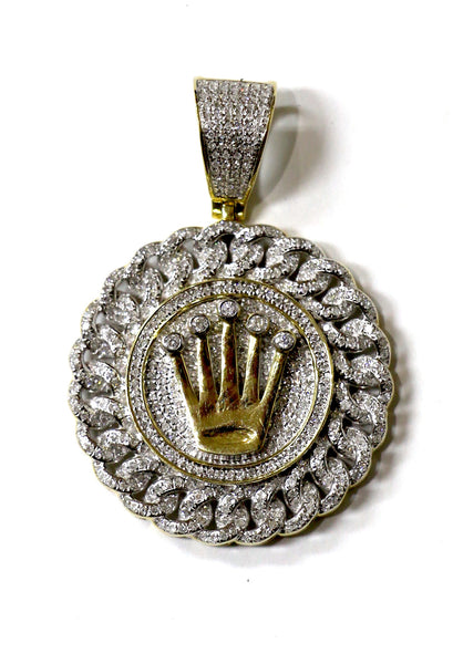 1.23 CT. Crown Medallion Diamond Pendant in 10K Yellow Gold