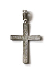 0.50 CT. Concave Diamond Cross Pendant in 10K White Gold