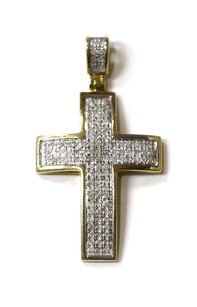 0.50 CT. Convex Diamond Cross Pendant in 10K Yellow Gold