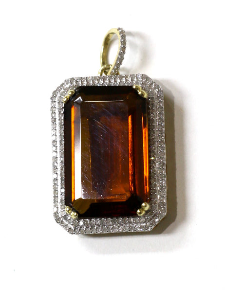 0.75 CT. Simulated Emerald Diamond Pendant in 10K Yellow Gold