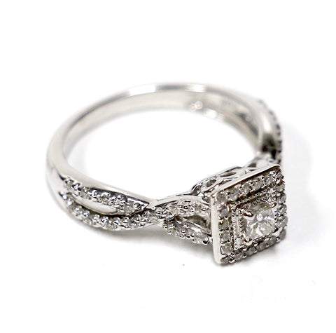0.40 CT. Double Square Diamond Engagement Ring in 10K White Gold