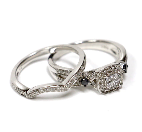 0.50 CT. Diamond Engagement Two Ring Set in 10K White Gold