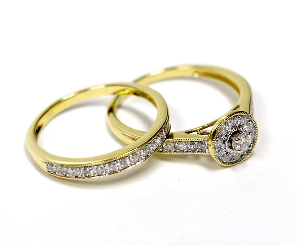 0.52 CT. Encircled Diamond Engagement 2 Ring Set in 14K Yellow Gold
