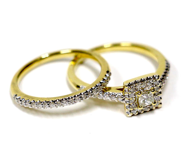 0.55 CT. Square Diamond Engagement 2 Ring Set in 14K Yellow Gold