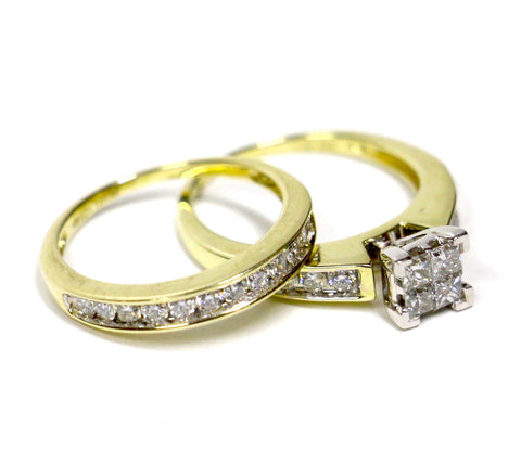 1.00 CT. Diamond Engagement 2 Ring Set in 14K Yellow Gold