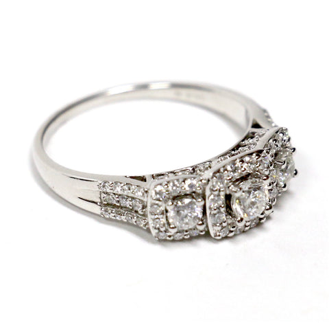 1.00 CT. Three Stone Round Cut Diamond Engagement Ring in 14K White Gold