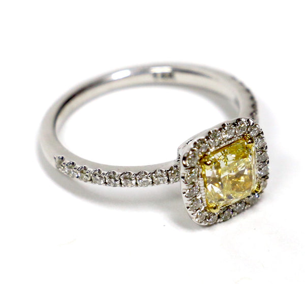 1.34 CT. Genuine Canary Diamond Engagement Ring in 14K White Gold