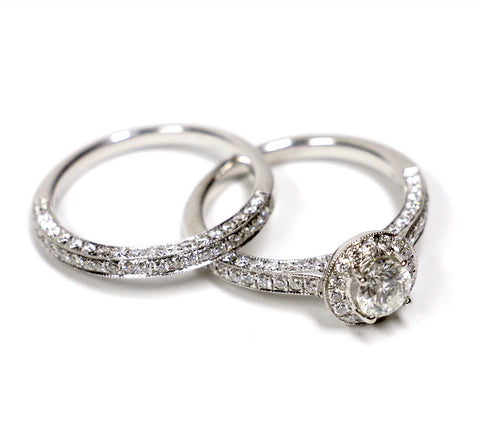 1.60 CT. Diamond Engagement 2 Ring Set in 14K White Gold