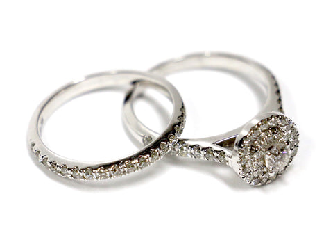 1.00 CT. Stepped Circle Diamond Engagement 2 Ring Set in 14K White Gold