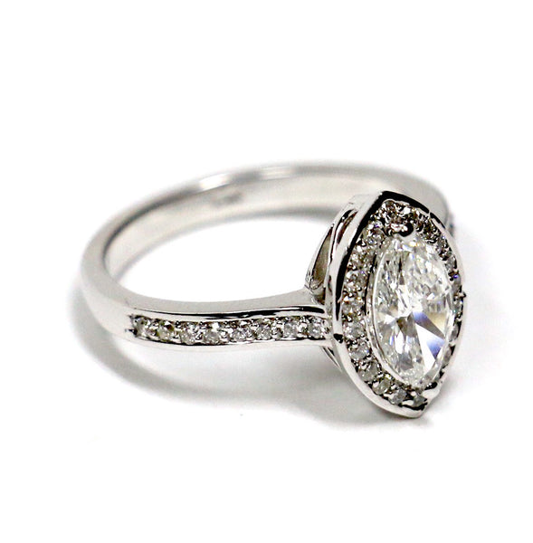 1.20 CT. Marquise Cut Diamond Engagement Ring in 14K White Gold