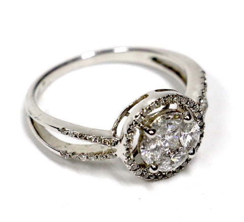 0.75 CT. Circle Diamond Engagement Ring in 14K White Gold