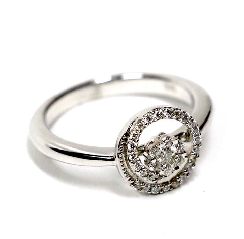 0.25 CT. Spiral Diamond Engagement Ring in 14K White Gold