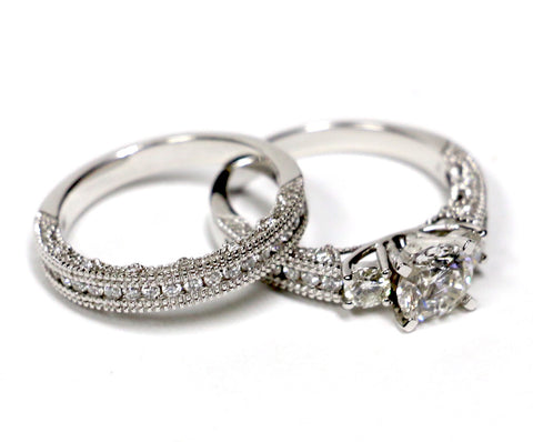 1.87 CT. Diamond Engagement Ring Set in 14K White Gold