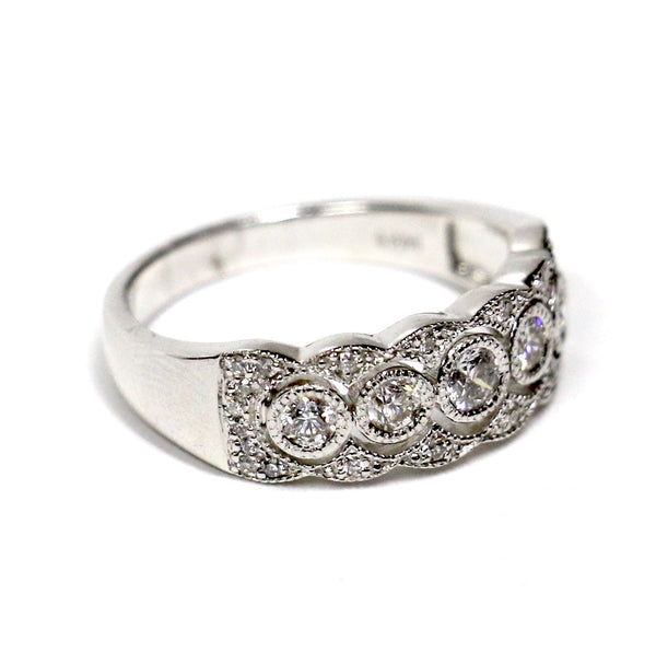 0.50 CT. Five Stone Diamond Wedding Band in 14K White Gold