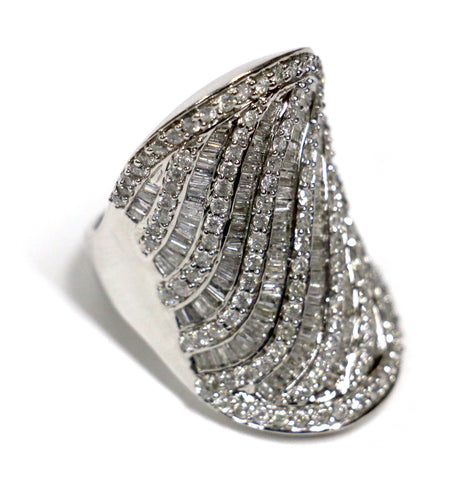 2.92 CT. Baguette Striped Diamond Ring in 10K White Gold