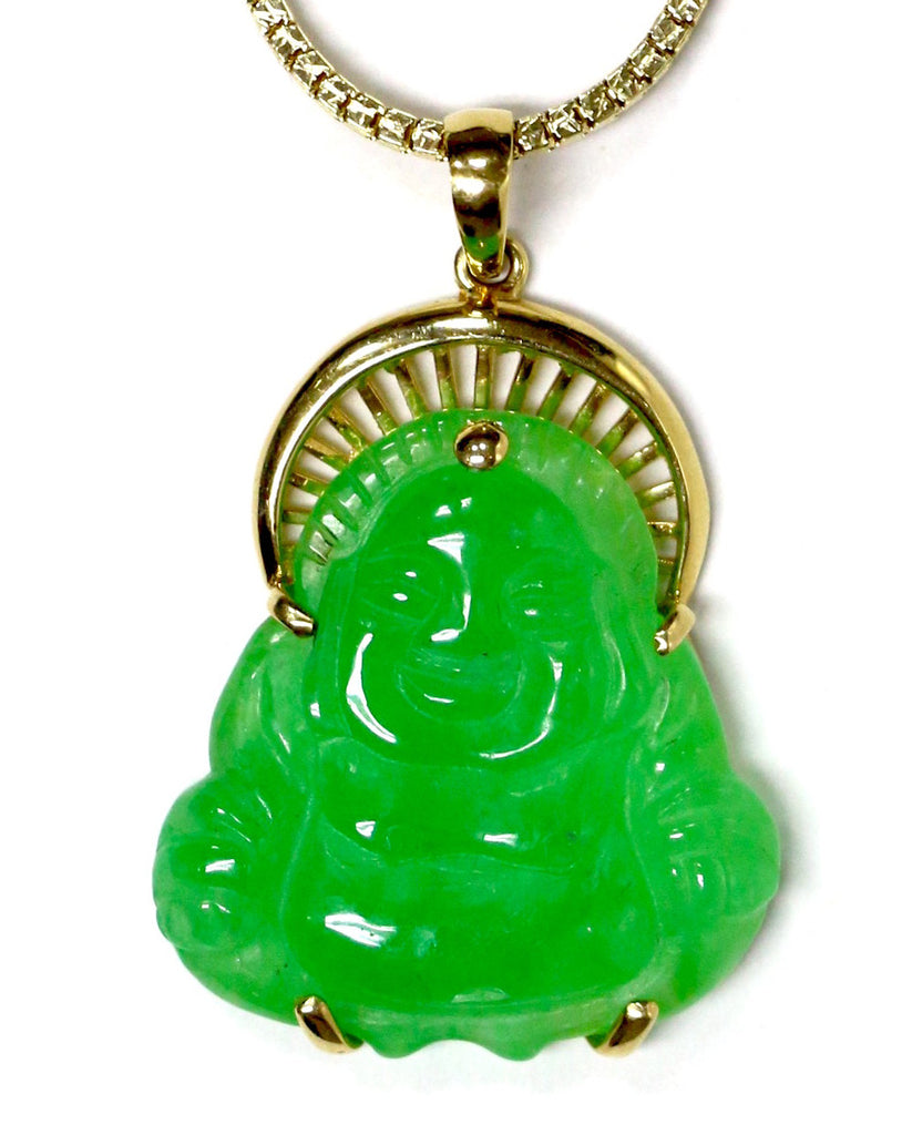 Jade buddha pendant in 10k yellow gold white carat co mozeypictures Choice Image