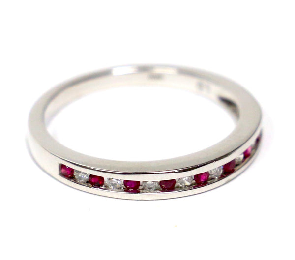 0.15 CT. Diamond Wedding Band with Simulated Rubies in 14K White Gold