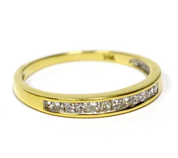 0.25 CT. Twelve Stone Princess-Cut Diamond Wedding Band in 14K Yellow Gold