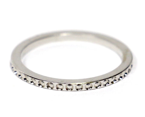 Inset Pattern Eternity Wedding Band in 14K White Gold