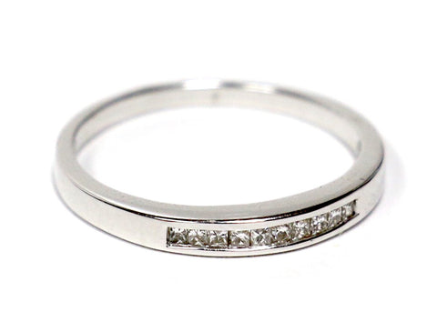 0.10 CT. Ten Stone Princess Cut Diamond Wedding Band in 14K White Gold