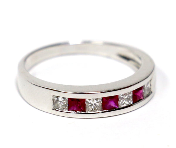 0.35 CT. Diamond Wedding Band with Simulated Rubies in 14K White Gold