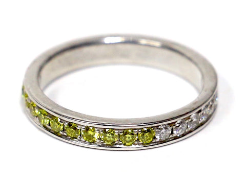 1.00 CT. Two-Tone Canary & White Diamond Eternity Band in 14K White Gold