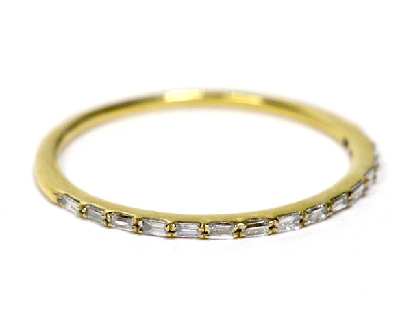 0.16 CT. Horizontal Baguette Diamond Wedding Band in 14K Yellow Gold
