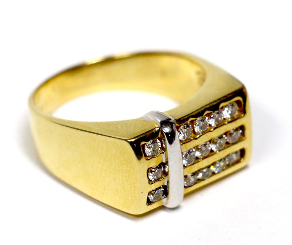 0.75 CT. Accented Three Row Diamond Wedding Band in 14K Yellow Gold