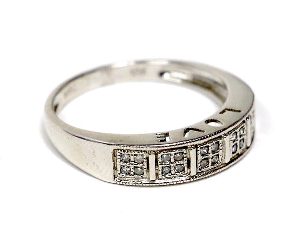0.15 CT. Five Square Diamond Wedding Band in 10K White Gold