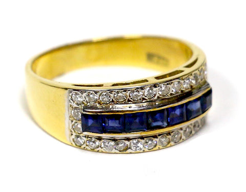 0.50 CT. Diamond Wedding Band with Simulated Sapphire Stripe in 18K Yellow Gold