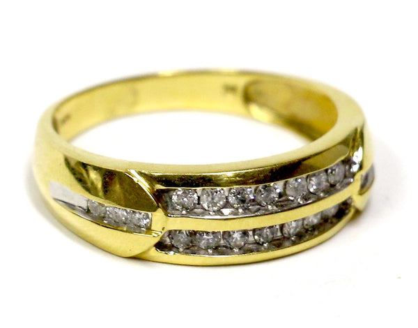 0.50 CT. Two Row Diamond Wedding Band in 14K Yellow Gold
