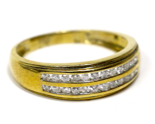 0.50 CT. Two Row Diamond Wedding Band in 10K Yellow Gold