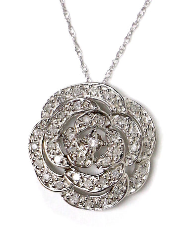 0.25 CT. Blossom Diamond Pendant in 14K White Gold (Chain Included)
